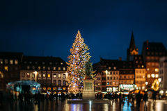 Famous Strasbourg Christmas Tree. STRASBOURG, FRANCE - NOVEMBER 29, 2012: Famous Strasbourg Center Christmas tree as seen through a tilt-shift lens in Place Stock Image