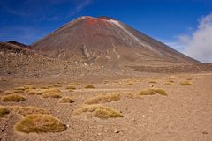 Famous stratovolcano of New Zealand Mt. Ngauruhoe in Tongariro National park. Volcanic landscape, dry desert of geological volcanic area, great walk on the royalty free stock photos