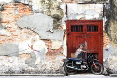 Famous Street Art Mural in Georgetown, Penang, Malaysia Royalty Free Stock Photo