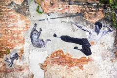 Famous Street Art Mural in Georgetown, Penang, Malaysia Royalty Free Stock Images