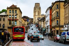 Famous street in the center of Bristol, UK during the rainy day stock photography