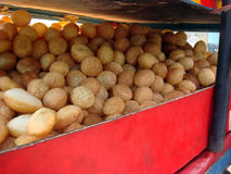Famous street food gol gappe or pani puri. Selling in market royalty free stock images