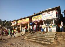 Famous street food shops in Juhu beach, Mumbai royalty free stock photos