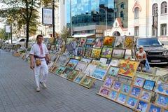 Famous street of Kiev 'Andreyevskiy spusk' Royalty Free Stock Images