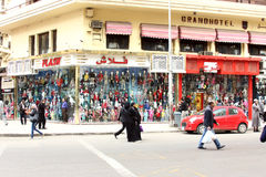 Famous street market for clothes in cairo in egypt in africa Stock Images