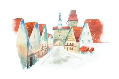 Famous street of old historic Bavarian town Rothenburg ob der Tauber painted with watercolors on white background Stock Images