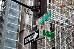 The famous street. The road sign of one of the most famous streets in the world: the 5th Avenue Royalty Free Stock Photos