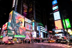 Times Square in Manhattan, New York City, USA. The famous street of Times Square in Manhattan by night, New York City, USA stock image