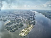 Famous Strelka park in place of confluence of Kotorosl and Volga rivers in Yaroslavl, Russia. Drone aerial view stock images