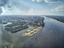 Famous Strelka park in place of confluence of Kotorosl and Volga rivers in Yaroslavl, Russia. Drone aerial view royalty free stock images