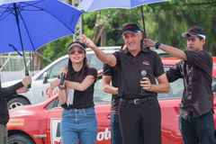 Famous stunt driver Russ Swift giving a speech before his perfor Royalty Free Stock Images