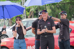 Famous stunt driver Russ Swift giving a speech before his perfor Royalty Free Stock Photography