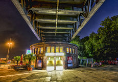 Famous subway station Landungsbruecken near St. Pauli by night. HAMBURG - GERMANY - JULY 30, 2016: famous subway station Landungsbruecken near St. Pauli by night Royalty Free Stock Image