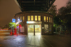 Famous subway station Landungsbruecken by night Stock Photography