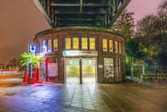 Famous subway station Landungsbruecken by night Stock Images