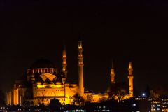 Suleymaniye mosque during the night. The famous Suleymaniye mosque lighten during the night Royalty Free Stock Photo