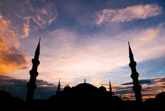 Famous Sultanahmet or Blue Mosque in Istanbul city at sunset Royalty Free Stock Photos