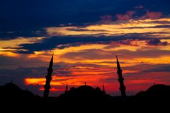 Famous Sultanahmet or Blue Mosque in Istanbul city at sunset Stock Photography