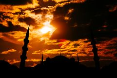Famous Sultanahmet or Blue Mosque in Istanbul city at sunset Royalty Free Stock Images