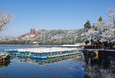 Summer palace in snow Stock Photo