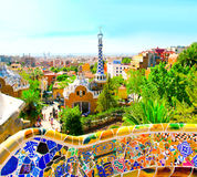 The Famous Summer Park Guell Royalty Free Stock Photo