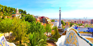 The Famous Summer Park Guell. Over bright blue sky in Barcelona, Spain Royalty Free Stock Image