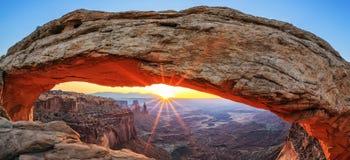 Famous sunrise at Mesa Arch. In Canyonlands National Park, Utah, USA Stock Photos