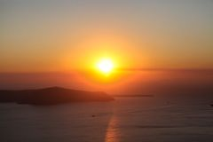 Famous sunset above Caldera view over sea in Stock Images