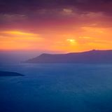 Famous sunset above Caldera view over sea in Santorini Island Royalty Free Stock Image