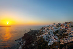The famous sunset of Oia Stock Images