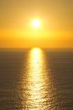 Famous sunset in Perlouades village - Corfu, Greece Royalty Free Stock Photo