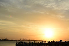Famous sunset in Tamsui Royalty Free Stock Photo