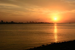 Famous sunset in Tamsui Stock Photo