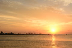 Famous sunset in Tamsui Royalty Free Stock Image