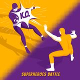 Superhero Battle Isometric. Famous superheroes movie characters fight in new computer videogame battle isometric orange purple screen image vector illustration vector illustration