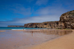 Famous surf beach near the Cape St.Vincente Stock Photos