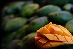 Famous sweet green mangoes black gold of Thailand. Famous sweet green mangoes by the nickname of black gold in Thailand Stock Photo