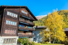 Famous swiss city Zermatt in the valley near the swiss-italian border Stock Image