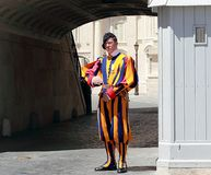Famous Swiss Guard guarding the entrance to the Vatican City stock image