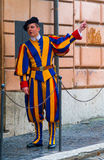 Famous Swiss Guard at Vatican City - The Swiss Guards in Rome. ROME, ITALY - NOVEMBER 5, 2016 royalty free stock image