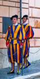 Famous Swiss Guard at Vatican City - The Swiss Guards in Rome. ROME, ITALY - NOVEMBER 5, 2016 royalty free stock photo