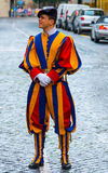 Famous Swiss Guard at Vatican City - The Swiss Guards in Rome. ROME, ITALY - NOVEMBER 5, 2016 stock images