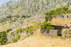 Famous symbol of the old fortress in Kotor Adriatic Montenegro. The famous symbol of the old fortress in Kotor Adriatic Montenegro Royalty Free Stock Image