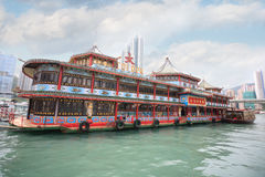 Famous Tai Pak floating restaurant in Hong Kong Royalty Free Stock Photo