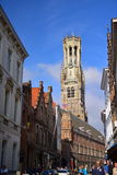 Famous tall belfry tower at Grote Markt (Market Square) Royalty Free Stock Photo