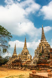 Famous temple area Wat Phra Si Sanphet, Former capital of Thailand in Ayutthaya royalty free stock photo
