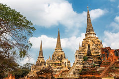 Famous temple area Wat Phra Si Sanphet, Former capital of Thailand in Ayutthaya royalty free stock photography