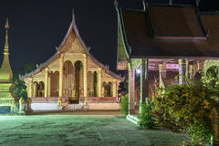 The famous temple in the night. In Lao Royalty Free Stock Photography