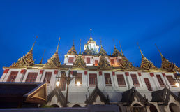 Famous temple at Night: Loha prasat & x28;metallic castle& x29; of Ratchan Royalty Free Stock Images
