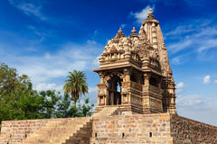 Famous temples of Khajuraho with sculptures, India stock photography